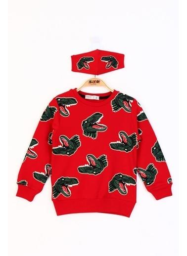Toontoy Kids Toontoy Erkek Çocuk Dinazor Baskılı Sweatshirt Kırmızı